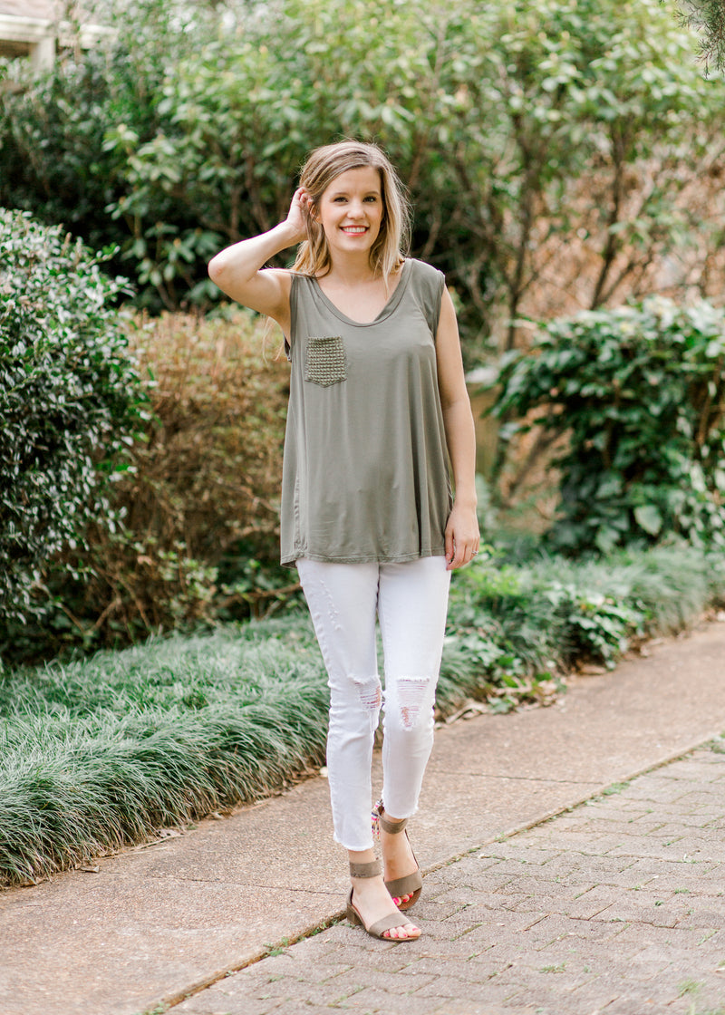 sleeveless top in sage - epiphany boutiques