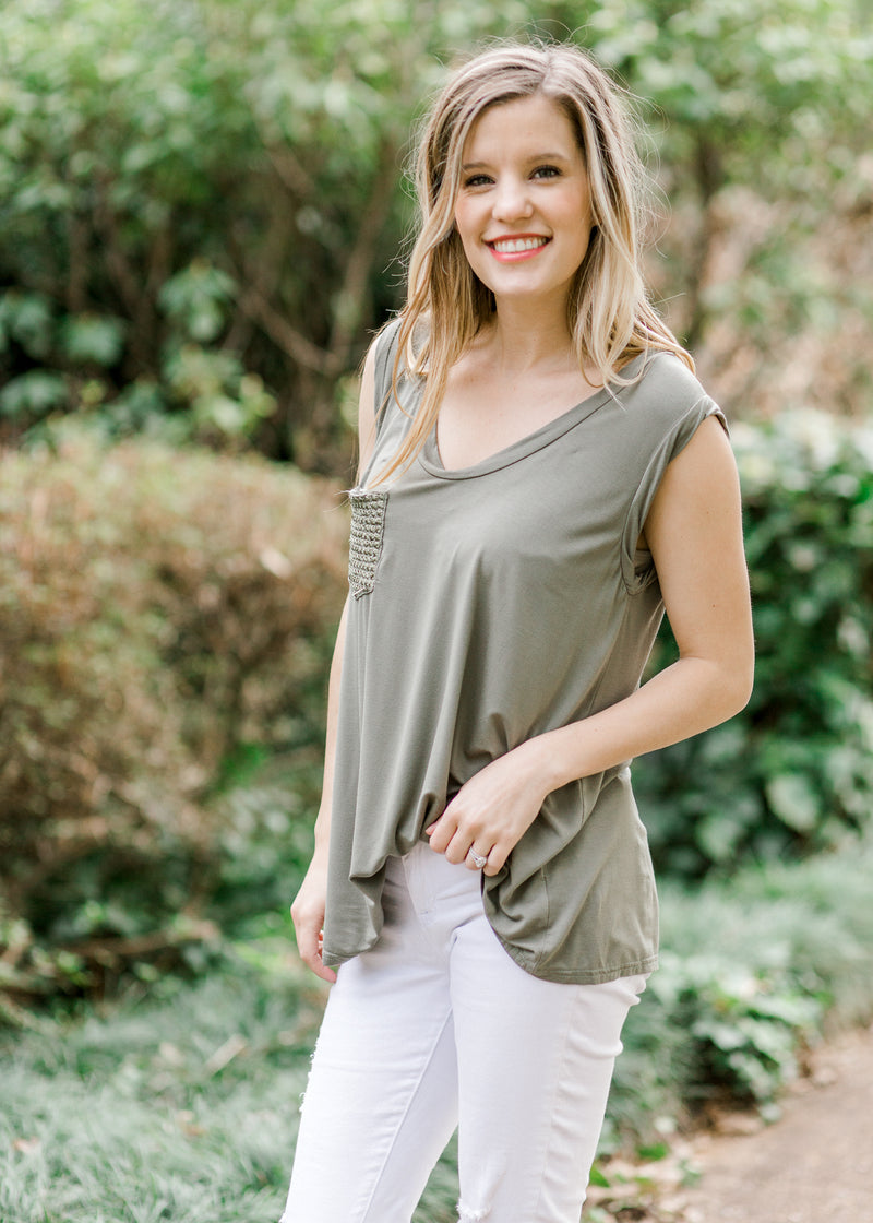 sage top with pocket and scoop neck - epiphany boutiques