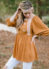 Nora Mustard Embroidery Top