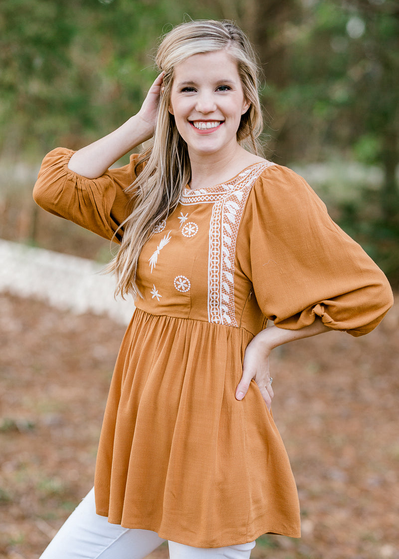 B Nora Mustard Embroidery Top
