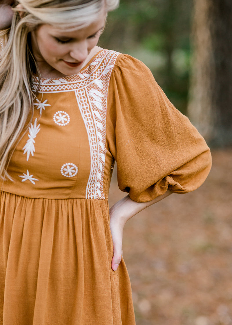 Nora Mustard Embroidery Top for the Bump