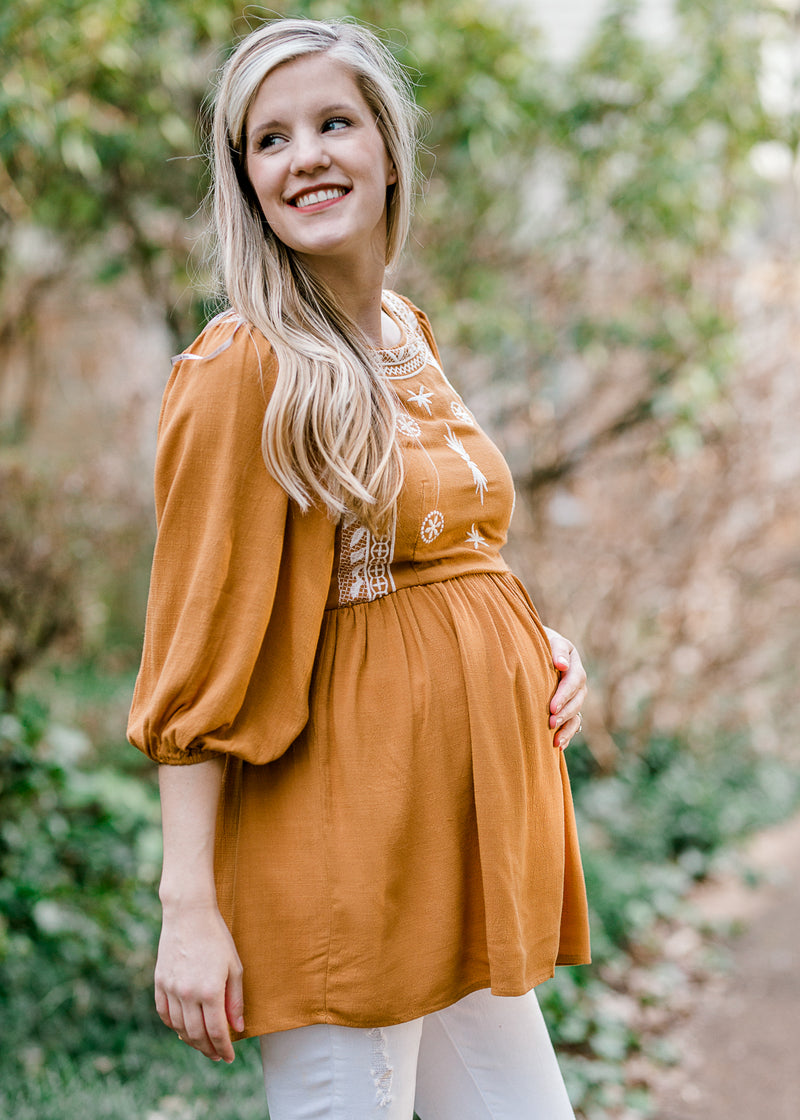 X Nora Mustard Embroidery Top for the Bump