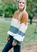 three color color block sweater - epiphany boutiques