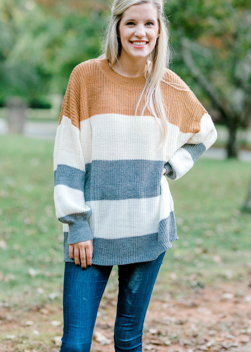 sweater with color block detail - epiphany boutiques