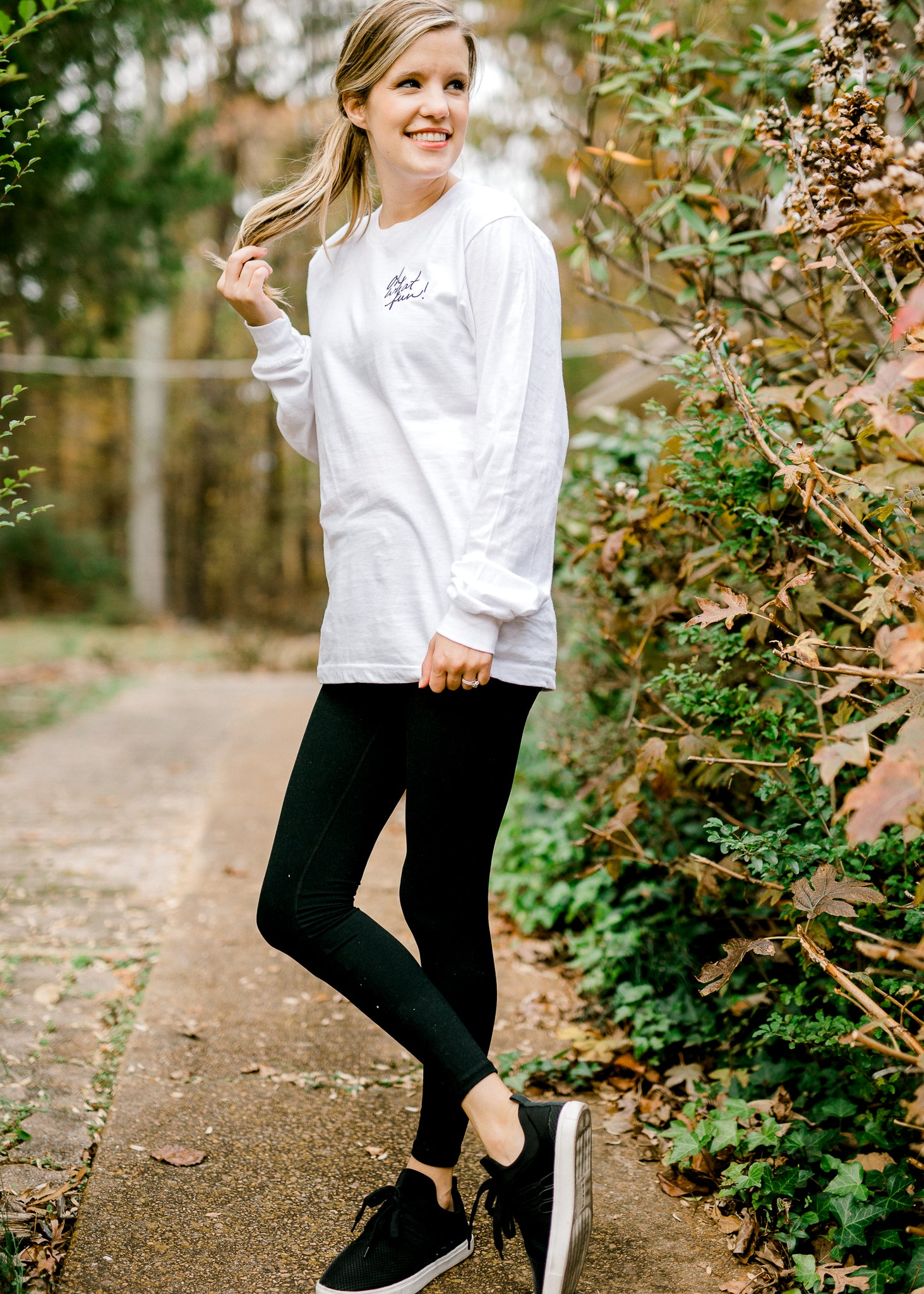 Oh What Fun! Long Sleeve White Tee