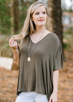 v neck short sleeve top - epiphany boutiques