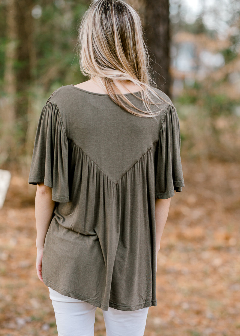 pleated olive top - epiphany boutiques