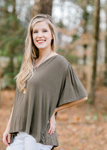 olive short sleeve top - epiphany boutiques
