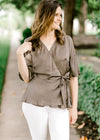 wrap top in olive - epiphany boutiques