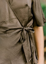 side tie wrap top in olive - epiphany boutiques
