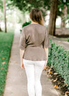 olive wrap top back view - epiphany boutiques