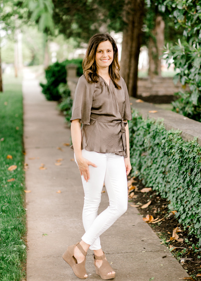 olive top with wrap function - epiphany boutiques