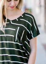 olive striped tee with pocket - epiphany boutiques