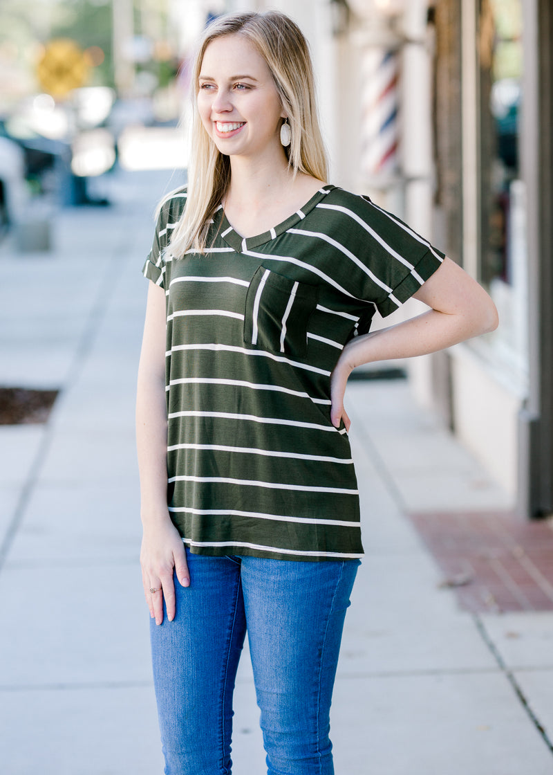olive and white tee - epiphany boutiques