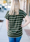 olive tee with white stripes - epiphany boutiques