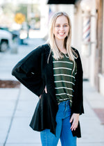 olive and white striped tee - epiphany boutiques