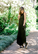 olive and black striped maxi dress - epiphany boutiques