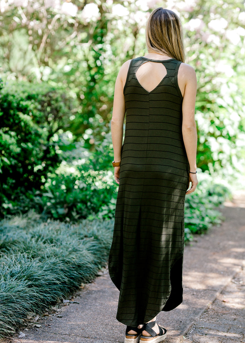olive maxi dress with cut out - epiphany boutiques