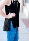black tank with slit - epiphany boutiques