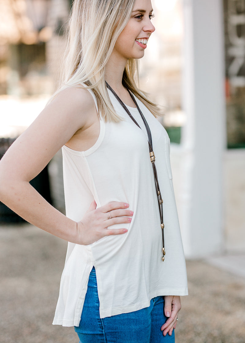ivory tank with slit - epiphany boutiques