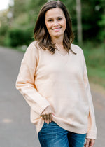 pale peach sweater - epiphany boutiques