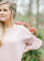 Pale Rose Smocked Sleeve Top for the Bump