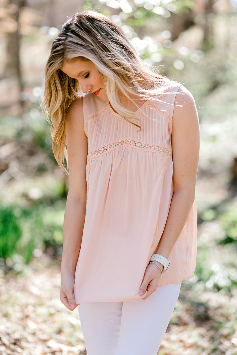 lace inset on peach top - epiphany boutiques