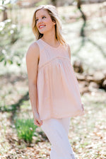 sleeveless peach top - epiphany boutiques