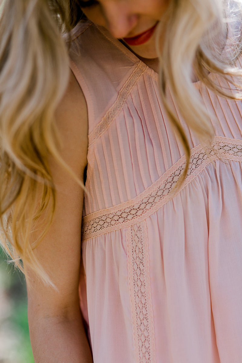 peach top with gathering - epiphany boutiques
