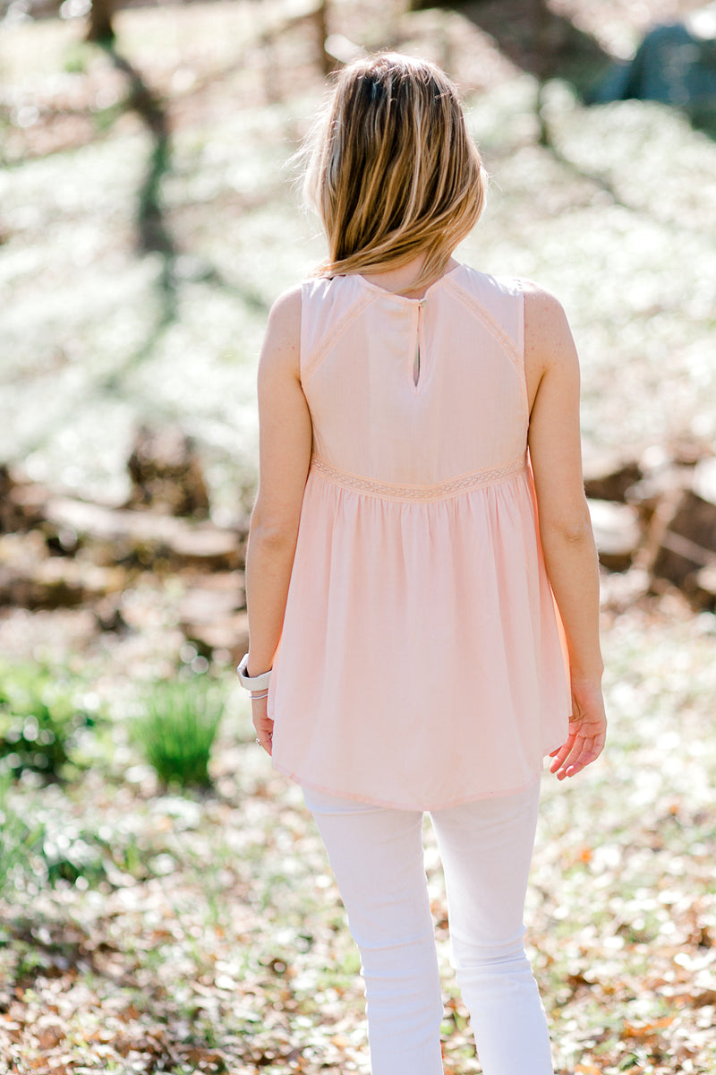 peach sleeveless top back view - epiphany boutiques
