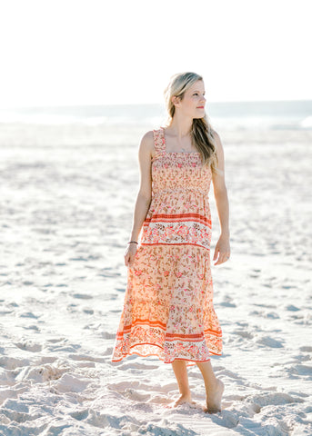peach tiered dress -  epiphany boutiques
