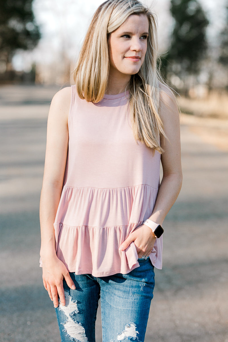 Pearl Blush Tiered Top