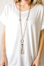 Pearl + Crystal Drop Necklace