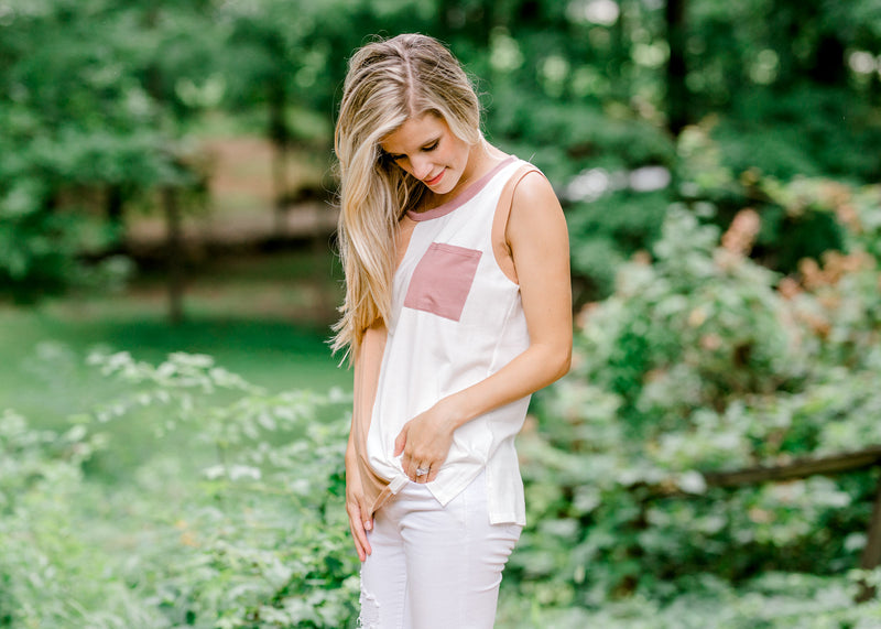 mauve taupe and cream top - epiphany boutiques