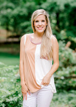model in a color block tank - epiphany boutiques