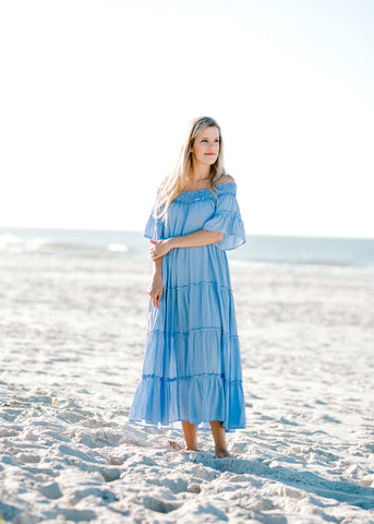 periwinkle tiered dress -  epiphany boutiques