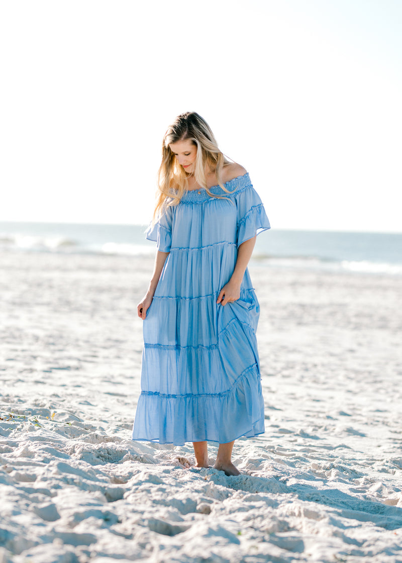 X Periwinkle Tiered Dress for the Bump