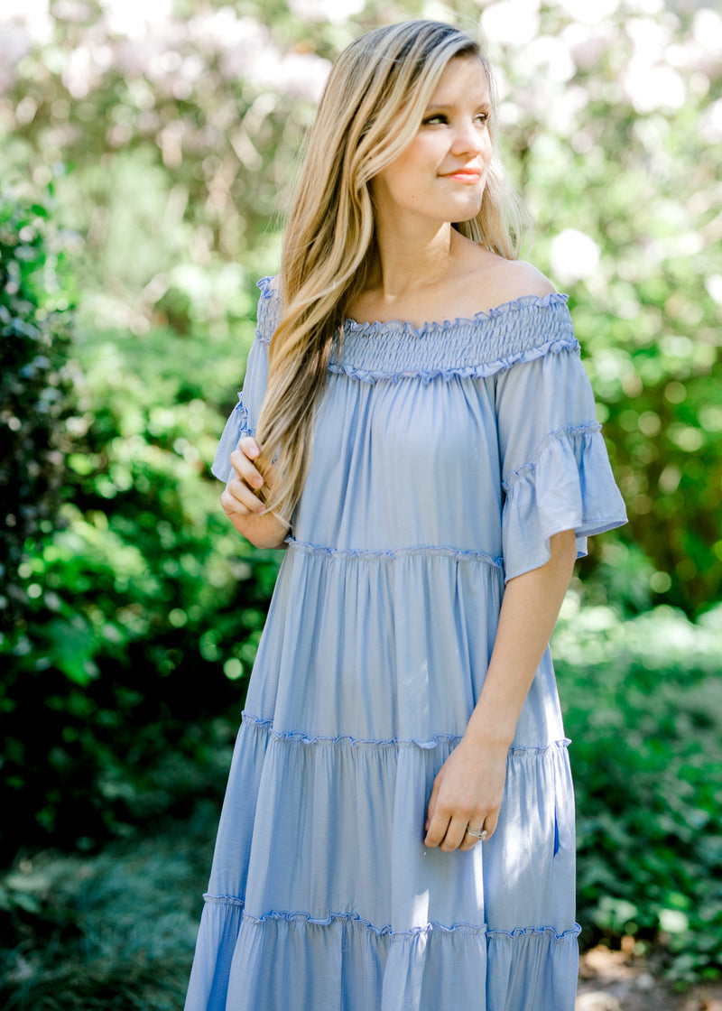tiered periwinkle short sleeve dress -  epiphany boutiques