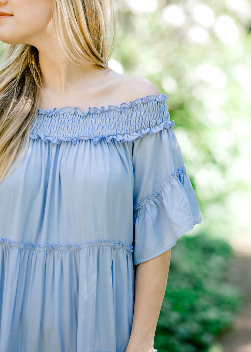 smocked detail at top of periwinkle dress -  epiphany boutiques