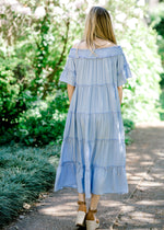 back view of periwinkle midi dress -  epiphany boutiques