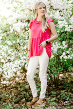 model in a hot pink top - epiphany boutiques