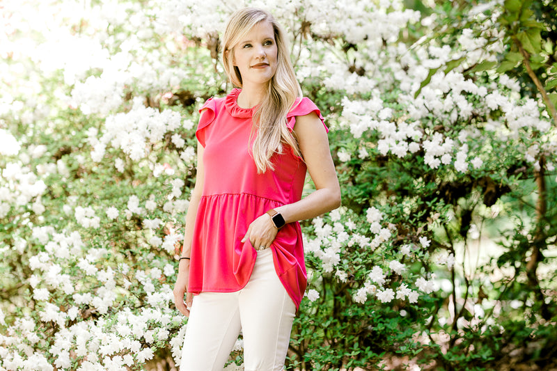 hot pink top with ruffled collar - epiphany boutiques