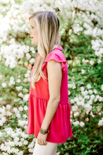 ruffled waist line pink top - epiphany boutiques