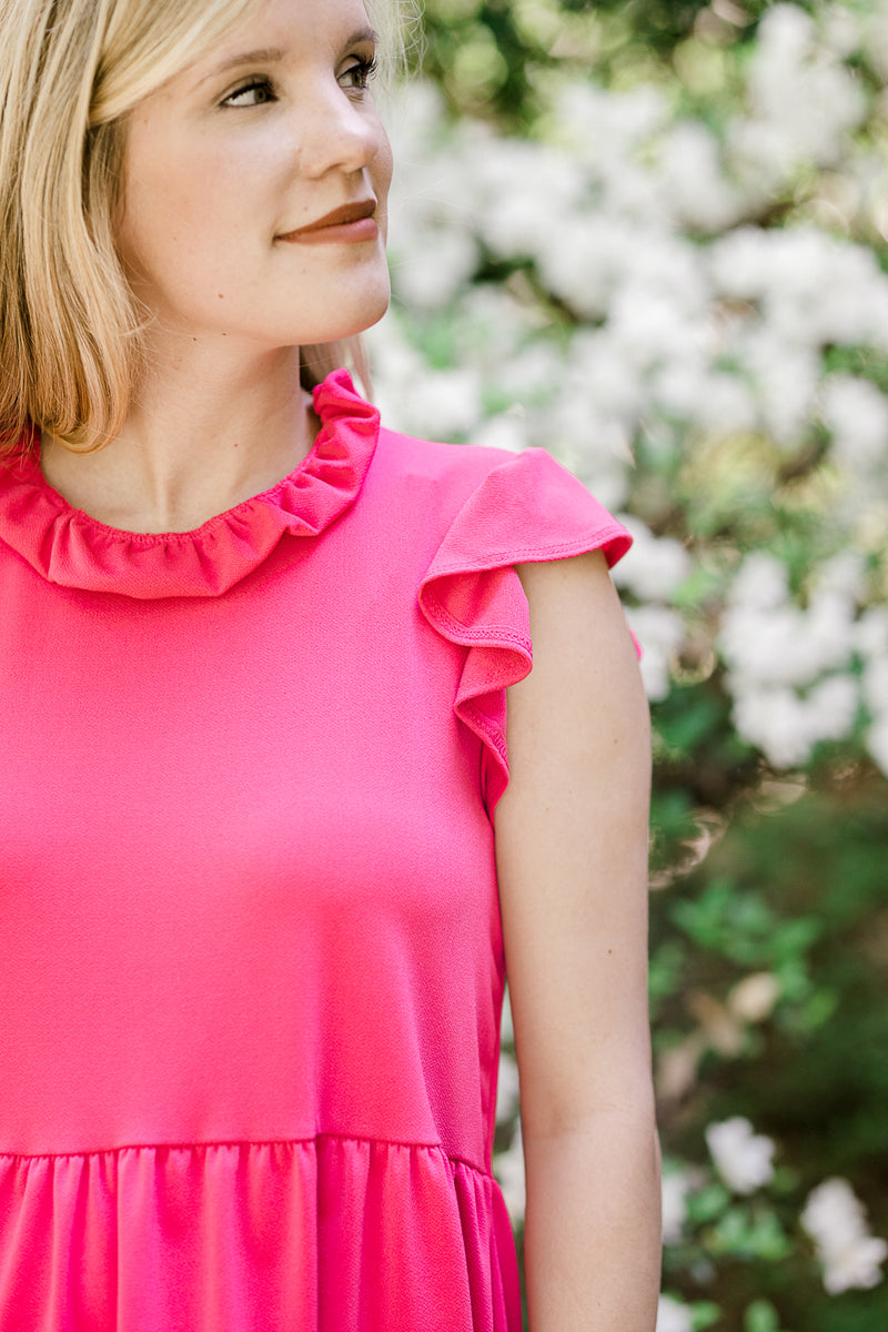 hot pink top with ruffles - epiphany boutiques