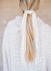 Pleated Cream Bandana Scrunchie