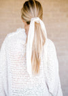 cream pleated scrunchie - epiphany boutiques