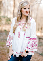 white top with embroidery - epiphany boutiques