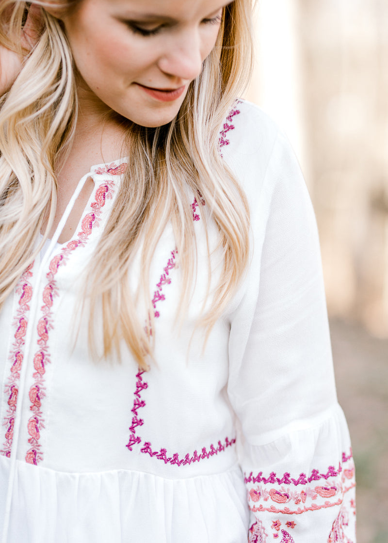 white embriodered top with tassels - epiphany boutiques