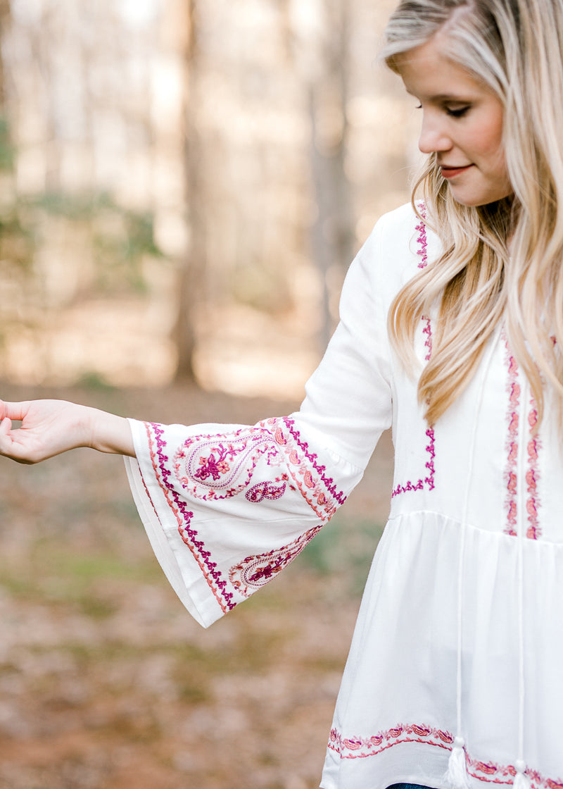 burgundy embriodery on white top - epiphany boutiques