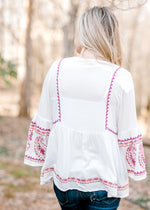white top with burgundy embriodery - epiphany boutiques
